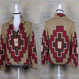 Ralph Lauren Hand Knit Southwest Cardigan Aztec